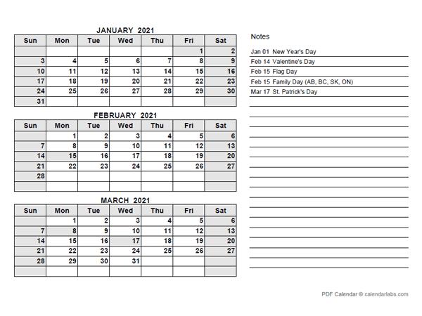 2021 UAE Quarterly Calendar with Holidays