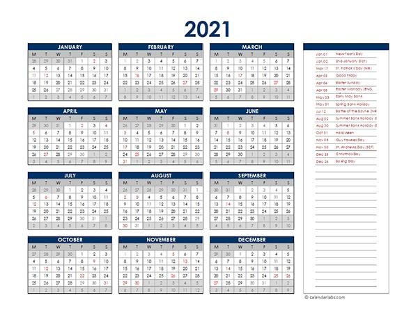 2021 UK Annual Calendar with Holidays - Free Printable ...