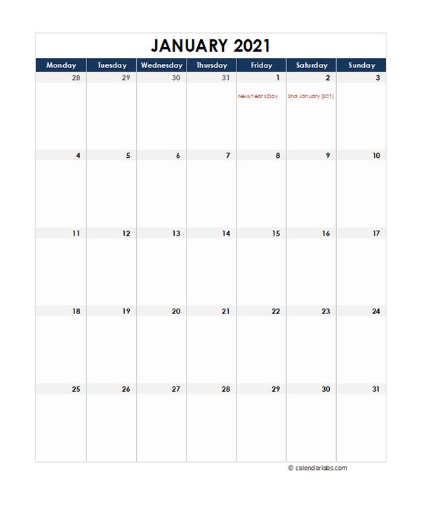2021 UK Calendar Spreadsheet Template
