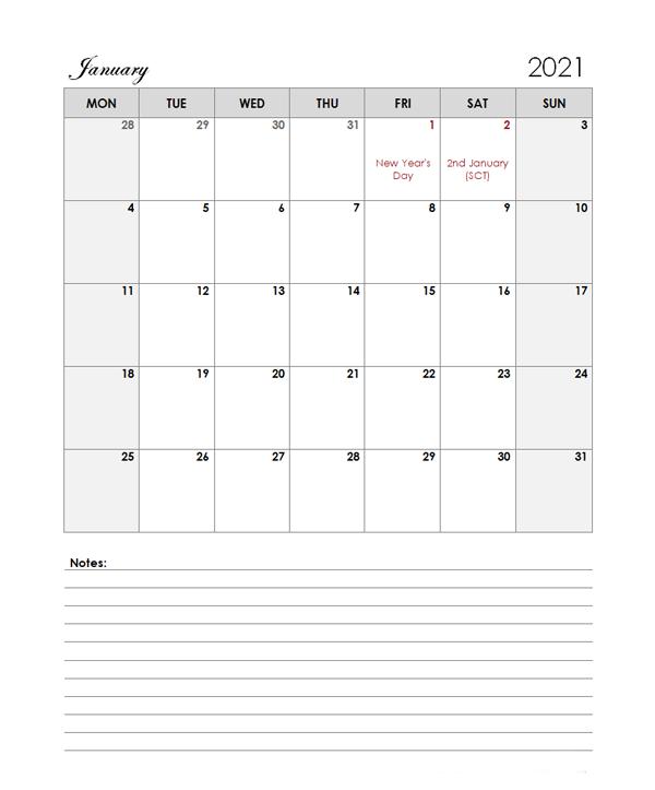 2021 UK Calendar Template Large Boxes