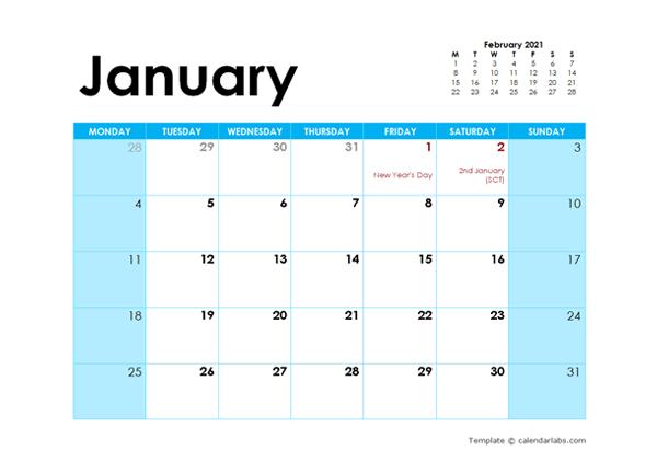 2021 UK Monthly Calendar Colorful Design