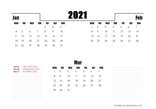 2021 UK Quarterly Planner Template