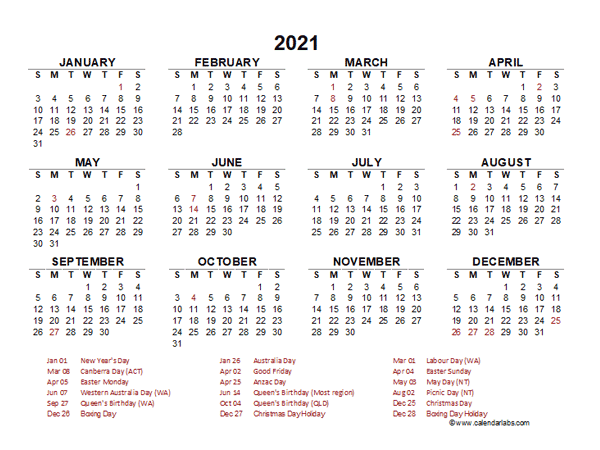 2021 Year at a Glance Calendar with Australia Holidays ...