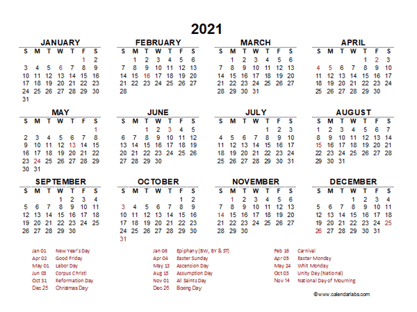 2021 Year at a Glance Calendar with Germany Holidays ...