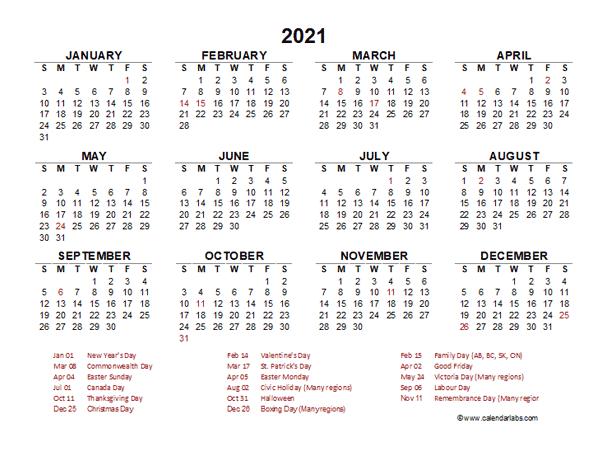 2021 Year at a Glance Calendar with Hong Kong Holidays ...