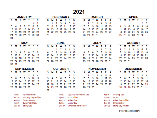 2021 Year at a Glance Calendar with New Zealand Holidays