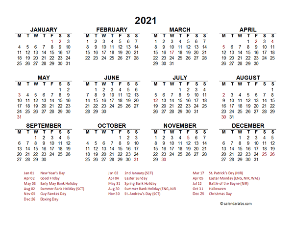 2021 Year at a Glance Calendar with UK Holidays