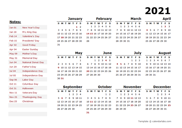 2021 Year Calendar Word Template with Holidays - Free ...
