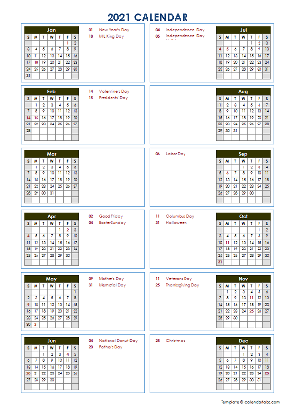 2021 Year at a Glance Word Calendar Template - Free ...