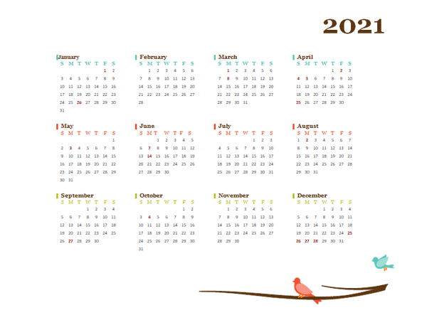 2021 Yearly Australia Calendar Design Template - Free ...