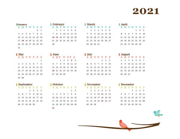 2021 Blank Yearly Calendar Bird Template