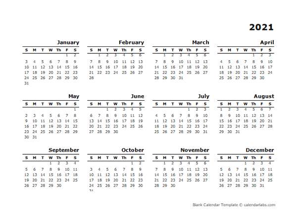 2021 Yearly Calendar Blank Minimal Design