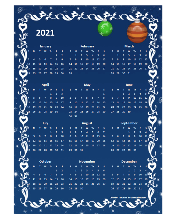 2021 Yearly Calendar Design Template