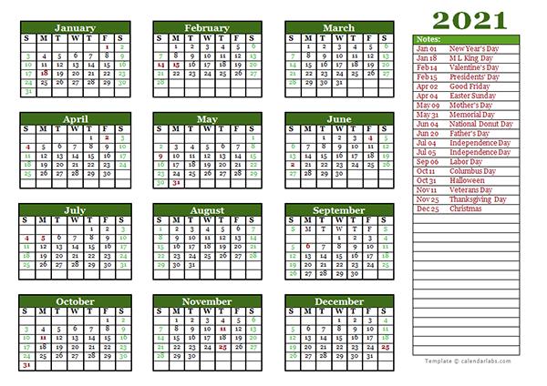 Editable 2021 Yearly Calendar Landscape