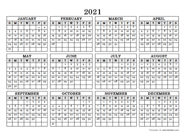 2021 blank yearly calendar landscape