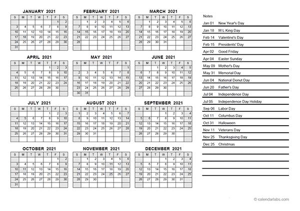 2021 Yearly Calendar PDF   Free Printable Templates