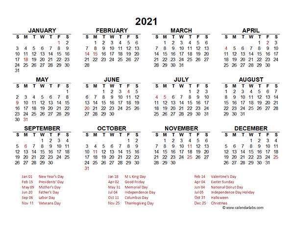 2021 Yearly Calendar Template Excel