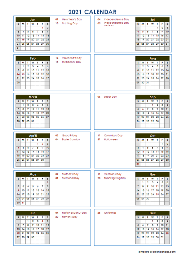 2021 Yearly Calendar Template Vertical Design   Free Printable