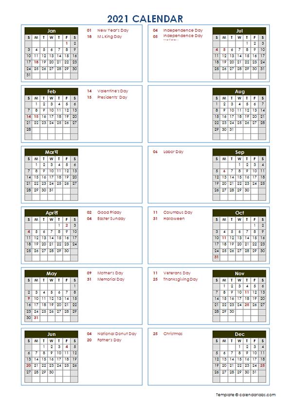 Vertical Calendar 2021 2021 Yearly Calendar Template Vertical Design   Free Printable