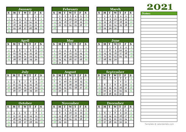 2021 Yearly Calendar With Blank Notes - Free Printable ...