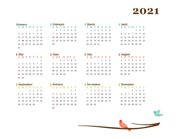 2021 Yearly Editable Word Calendar Template