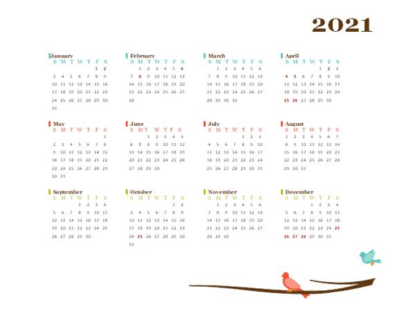 2021 Yearly New Zealand Calendar Design Template