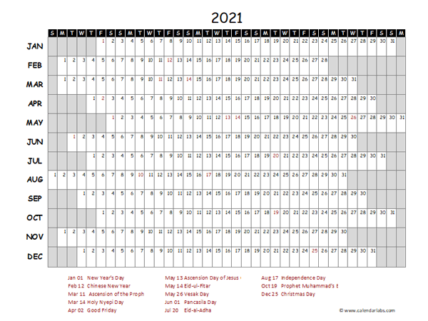 2021 Yearly Project Timeline Calendar Indonesia - Free ...