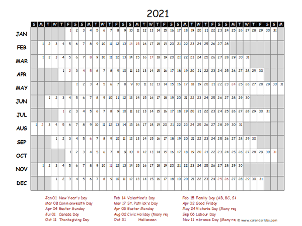 2021 Yearly Project Timeline Calendar UAE