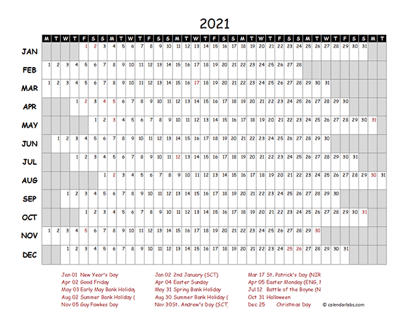 2021 Yearly Project Timeline Calendar UK