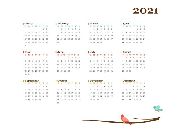 2021 Yearly UK Calendar Design Template