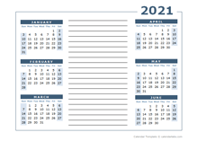 2021 two page calendar template