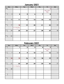 2021 2 months calendar template