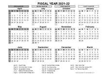 2021-2022 Fiscal Calendar UK Template