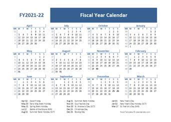 2021 Fiscal Calendar Template
