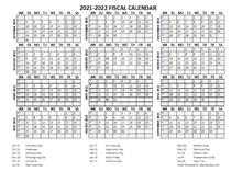 Fiscal Calendar 2021-22 templates