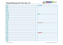 2021 Day planner for family