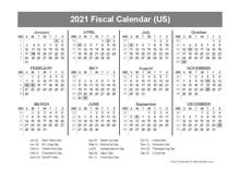 2021 USA Fiscal Quarter Calendar