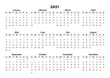 2021 Annual Blank Word Calendar Template