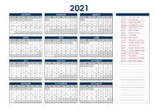 2021 Australia Annual Calendar with Holidays
