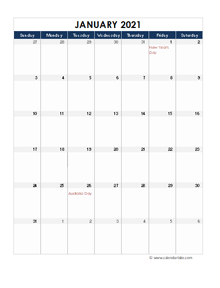 2021 Australia Calendar Spreadsheet Template
