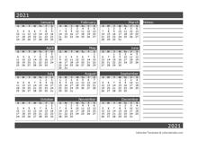 2021 12 months calendar template