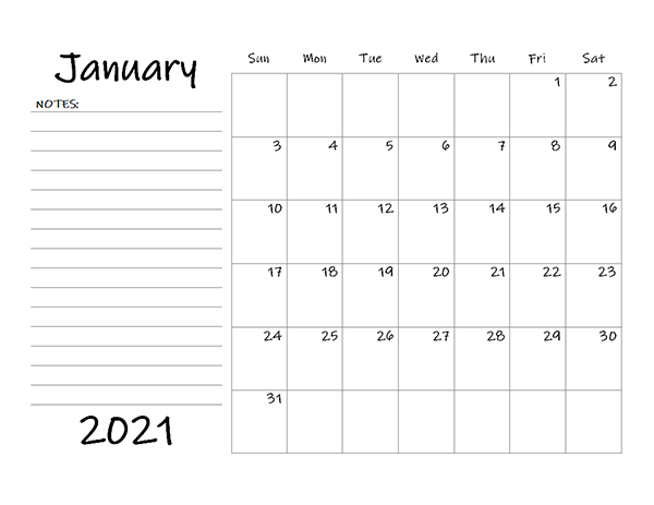 Printable Calendar With Lines To Write On 2021 Blank Calendar 2021 Template – Free Printable Blank Monthly Calendars
