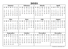 2021 Blank Yearly Calendar Template