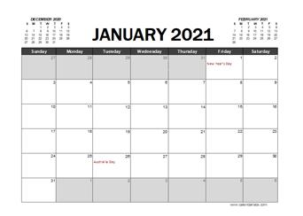 2021 Calendar Planner Australia Excel