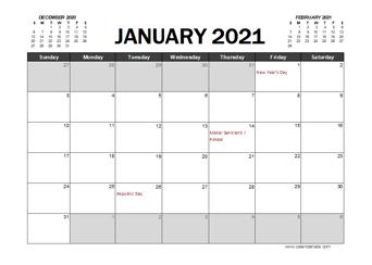 2021 Calendar Planner India Excel