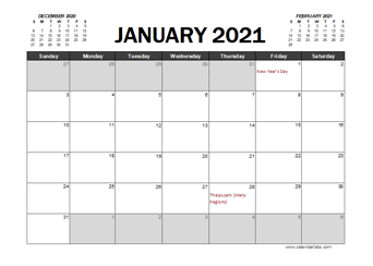 2021 Calendar Planner Malaysia Excel