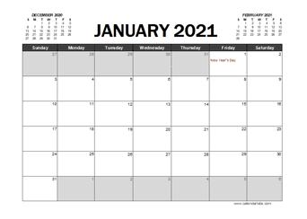 2021 Calendar Planner UAE Excel