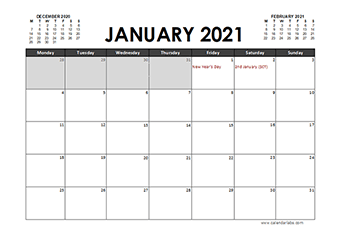 2021 Calendar Planner UK Excel