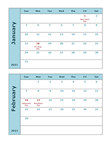 2021 calendar two months per page