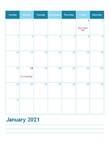 2021 month calendar template